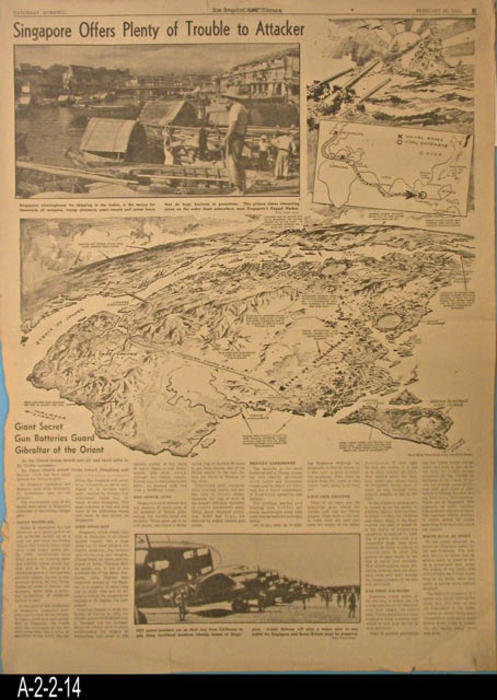 "Los Angeles Times - The lead story for this Part B section is about the giant secret gun batteries that guard the Gibraltar of the Orient.  The reverside side of the page has a wide range of news articles and some ads. - PAGES: 1 - MEASUREMENTS:  22 1/2"" X 16 3/4"" - CONDITION:  The left and bottom margin area is frayed.  The paper is beginning to turn brown.  Several small tears going up from the bottom edge of the page.  COPIES:  1."