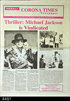 Newspaper - Weekly Corona Times - 2005 - Thriller:  Michael Jackson is Vindicated...
