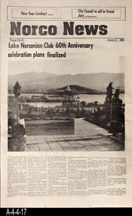 "The Register  - CONTENT:  The main item of interest is the Finalization of the plans for the 60th Anniversary of the Lake Norconian Club.  There is also other local news and advertisements.  -  PAGES: 6 - MEASUREMENTS:  22 3/4"""" X 14 1/4"" - CONDITION:  This newspaper is in very good condition.  -  COPIES:  1."