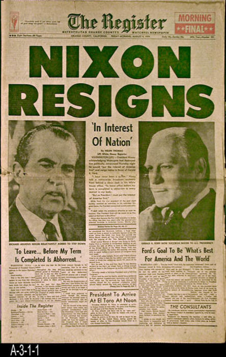"The Register  -  Headline:  Nixon Resigns - CONTENT:  Coverage also of the incoming President, Gerald R. Ford - International, national, and local news in addtion to area advertisements. - MEASUREMENTS:  23"" X 15"" - CONDITION:  Some of the edges are beginning to show signs of fraying.  Slight damage to the left had side on the cover page on the horizontal fold line. -  COPIES:  1."