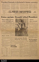 Newspaper - 1963 - The Press Enterprise - The Death of President John F. Kennedy...