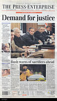 "Newspaper - 2001 - The Press Enterprise - ""Demand for justice"""