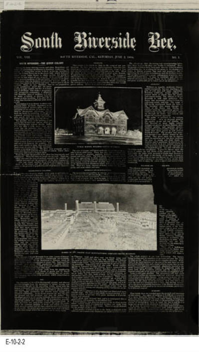 "NEWSPAPER: This is a printing negative made from a photograph of a page from the South Riversdie Bee.  The original paper photographed for this negative is library holding A-1-3-4. -  MEASUREMENTS:  20"" x 12"" - CONDITION: The printing negative is in good condition.  -  COPIES:  1."