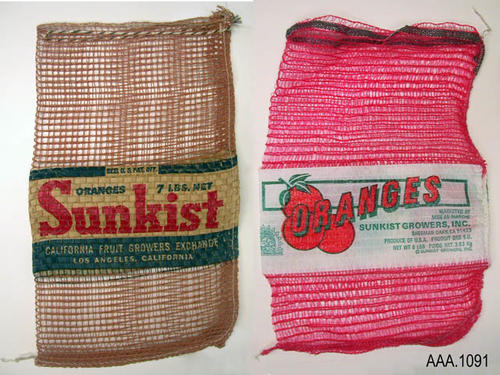 This artifact collection consists of two, string bags used by Sunkist Growers to ship and sell citrus fruit.  Each bag is of a different vintage.