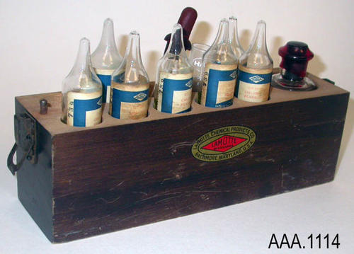"This artifact is a portable, chlorine standard kit used by Foot Properties in the agriculture industry.  CONDITION:  The wood top to this kit is missing. This kit measures 8 15/16"" in width, 5 1/4"" in height, and 2 1/2"" thick."