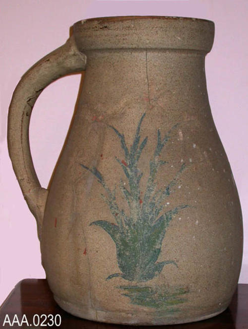 This artifact is a fumigation pot. It is sand in color with a flower painted on each side., CONDITON: This artifact is badly faded. A crack runs the full length, top to bottom, also several horizontal cracks appear on this item.