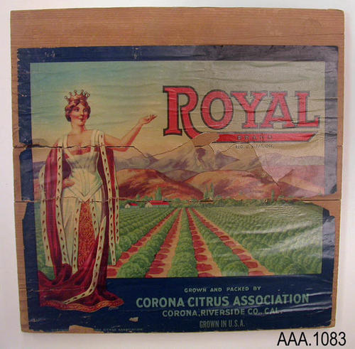 The artifact is the end of a citrus packing crate.  The Royal brand label is on the crate end.
