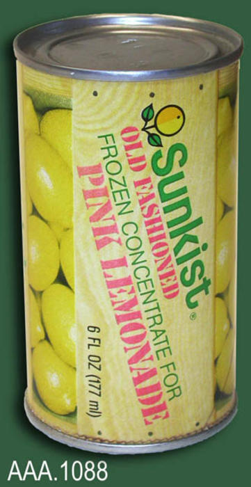 "This artifact is a juice can used for Sunkist Pink Lemonade.  The label reads as follows:  ""Sunkist - Old Fashioned - Frozen Concentrate for - Pink Lemonade.  6 FL OZ (177 ml)."""