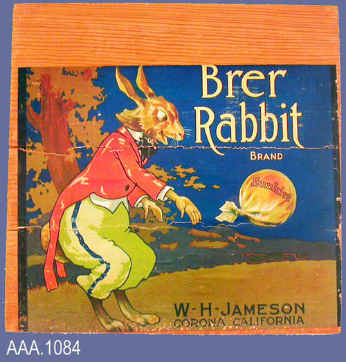 "This artifact is a citrus packing crate end.  The Brer Rabbit label - W. H. Jameson & Son - Corona, California - is featured on the crate's end.  This artifact measures 11 1/2"" x 11 1/2""."