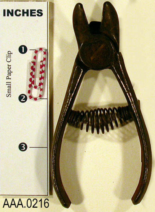 This artifact is a pair of shears.  These shears are old Corona orange/Fuji shears used in the citrus groves in early Corona.