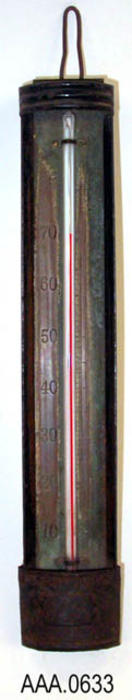 This artifact is a thermometer measuring temperatures from 0 degrees to 80 degrees Fahrenheit.