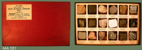 "This artifact is the Basic Learner's Kit No. K-300-A.  It consists of eighteen samples consisting of igneous, metamorphic, and sedimentary rock.  On the inside of the cover is information about the three types of rocks as well as the individual specimens.  This kit measures 9"" x 6""."