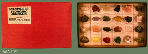 "This artifact is a mineral display kit ( # K-210) having  twenty-four minerals.  Each mineral is labeled and a detailed information sheet comes with the kit.  This kit measures 9"" x 5 7/8""."