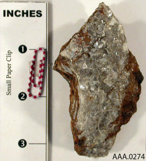 This artifact is a piece of Spalerite - common zinc. Donor's Remarks:  This artifact is from the Cleveland National Forest.