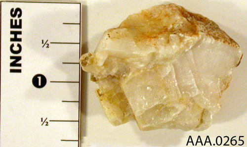 This artifact is a chunk of calcite. Donor's Remarks:  This artifact is from the Cleveland National Forest.