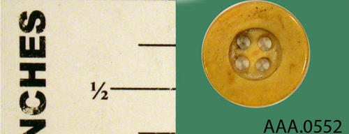 This artifact is a single ivory button. Donor's Remarks:  This artifact was found in an old house on S. Main Street between 9th and 10th Street on the east side.