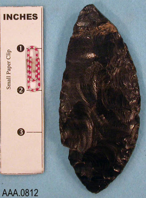 This artifact is a large, obsidian blank (bi-facial) from the Colorado River.