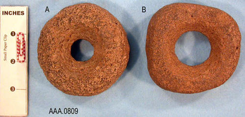 This artifact collection consists of two do-nut shaped stones of unknown use.  They may have been net weights.  These artifacts are possibly from Arizona.