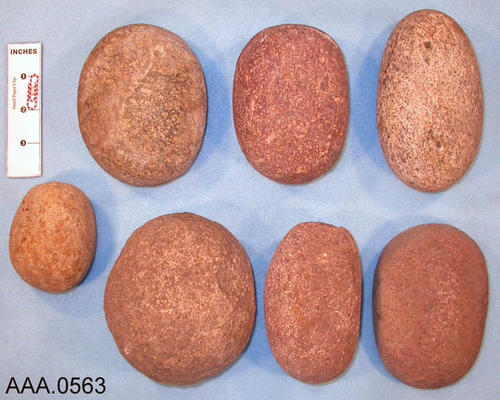 This artifact collection consists of stone manos.  The stone mano was used by local Indians. It was held in the hand when grinding acorns into meal. Donor's Remarks:  Five of the stones were found in Temescal Canyon.  One in Eagle Canyon, and one in the area south of Corona (the exact location unknown).