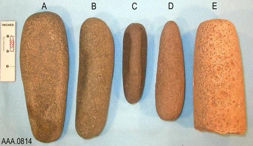 "This artifact collection consists of five stone, roller pestels used to grind food.  The measure of each is as follows:  (A) Length 8.25"", Width 3""' (B) Length 7.75"", Width 2""; (C) Length 5.25"", Width 1.5""; (D) Length 6.5"", Width 2""; (E) Length 7"", Width 2.75."""