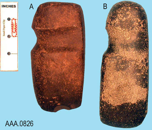 "This artifact collection consists of (2) three-quarter grooved axes from Colorado. C. 1200-1600 A.D.  Artifact (A) measures 6 1/2"" x 3"" x 2.""  Artifact (B) measures 7 1/2"" x 2 3/4"" x 1 3/4."""