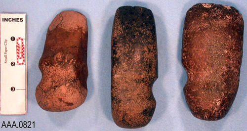 This artifact collection consists of three stone celts which are stone axes.  Their age and source is unknown.