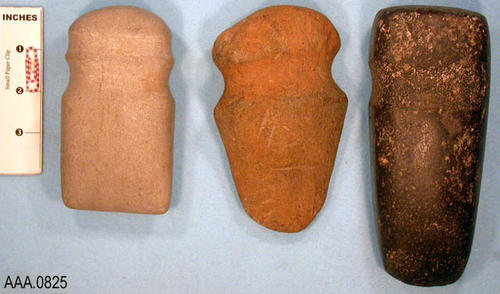 This artifact collection consists of (3) three-quarter grooved axes from the Ohio Valley. C. 500 A.D.