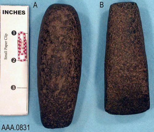 This artifact collection consists of (2) small, stone chisles.  They measure in inches as follows:  (A) 4 1/2 x 1 1/2; (B) 4 1/4 x 1 3/4.