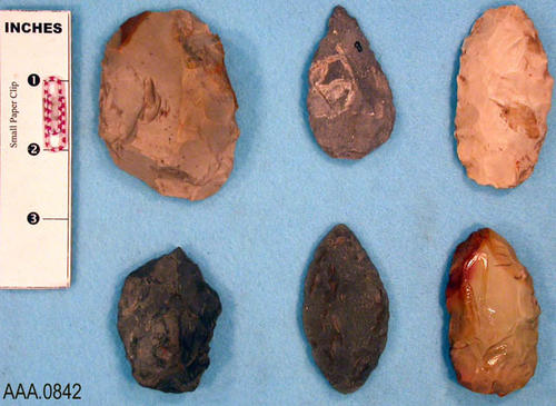 This artifact collection consists of six, chipped, stone blanks.  Their age and source is uncertain.