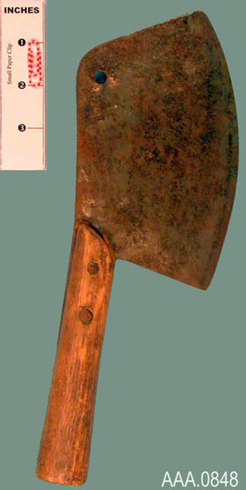 This artifact is a meat cleaver.  Its age and source are unknown.