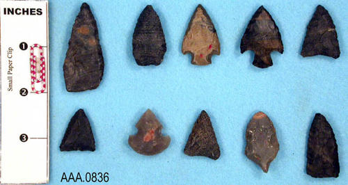 This artifact collection consists of ten projectile points from Kentucky.  Their age is uncertain.