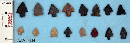 This artifact collection consists of sixteen projectile points from Texas.  Their age is uncertain.