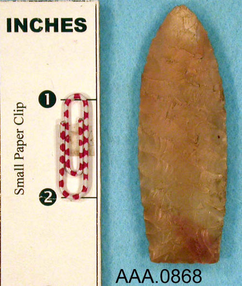 This artifact is a stone knife.  Its age and source are unknown