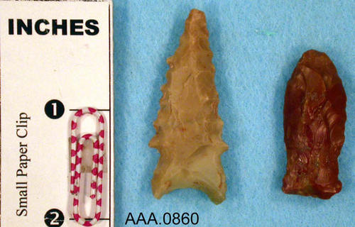 This artifact collection consists of two stone arrow points.  Their age and source is unknown.