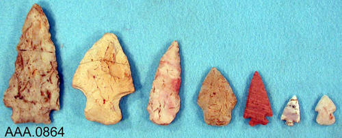 This artifact collection consists of seven, miscellaneous arrowheads.  Their age and source is unknown.