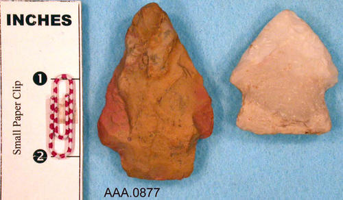 This artifact collection consists of two spear points.  Their age and source is unknown.  The small white point has glue and red material on the back of the point (This is not visible in the photograph).