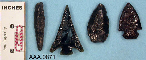 This artifact collection consists of four, Columbia River, obsidian, arrowheads.  Their age is unknown.