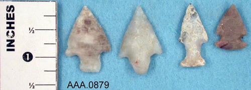 This artifact collection consists of four arrowheads.  Their age and source is unknown.