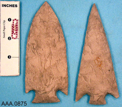 This artifact collection consists of two, white spear points.  Their age and source is unknown.
