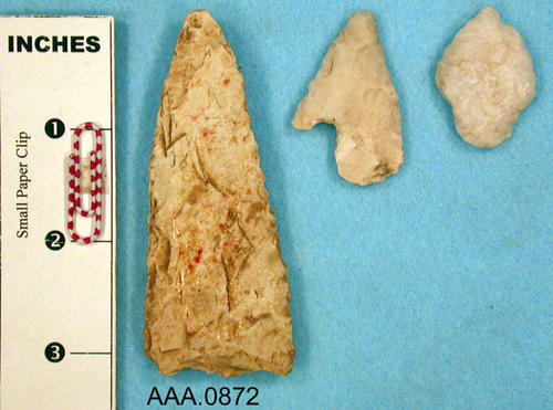 This artifact collection consists of three, Mohawk points.  Their age and source are unknown.