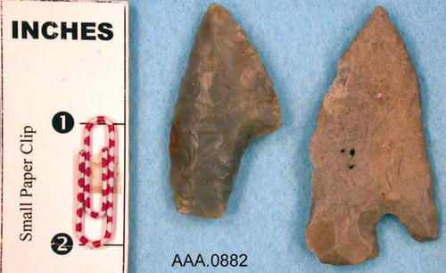 This artifact collection consists of two stone knives.  One of the knives is from Marquett, IL.