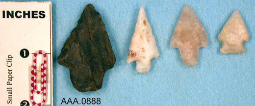This artifact collection consists of four, Comanche arrowheads.  Their age is unknown.