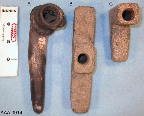 This artifact collection consists of three, stone, monitor pipes from the Ohio Valley.  C. 500 B.C. to 500 A.D.