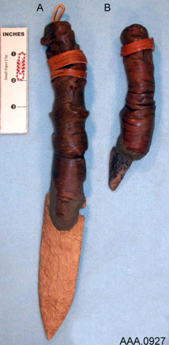 This artifact collection consists of two bifacial blades attached to modern handels.  Their age and source is unknown.