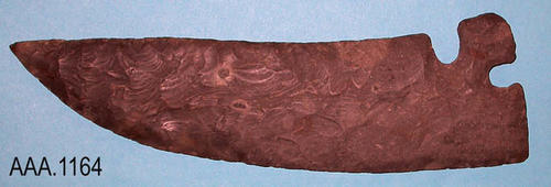 "This artifact is a stone blade.  This large ""Comer Tang"" bifacial, flaked flint blade is from Texas. Circa:  1000-1600 AD."
