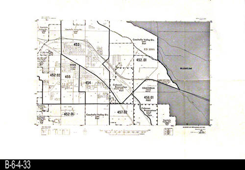 "This map covers Block No. 524NW - Coachella, Indio, Cabezon Reservation, Coachella Valley Div. - MEASUREMENTS:  22"" x 34"" - CONDITION:  Very Good - COPIES:  1."