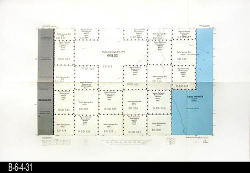 "This map covers Block No. 523NE - Palm Springs, Palm Springs Div., Agua Caliente Reservation - MEASUREMENTS:  22"" x 34"" - CONDITION:  Very Good - COPIES:  1."