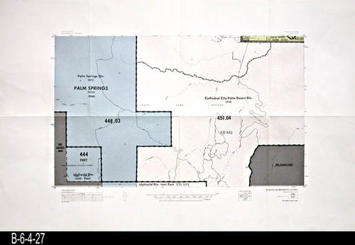 "This map covers Block No. 135 - Palm Springs, Palm Springs Div., Palm Desert, Cathedral City - Palm Desert Div., Idyllwild Div.   - MEASUREMENTS:  22"" x 34"" - CONDITION:  Very Good - COPIES:  1."