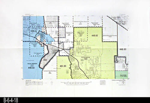 "This map covers Block No. 119 - Partial for:  Palm Springs, Palm Desert, Cathedral City - Palm Desert, Rancho Mirage, Agua Caliente Reservation, Thousand Palms, .  - MEASUREMENTS:  22"" x 34"" - CONDITION:  Very Good - COPIES:  1."