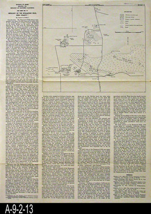 "This map was published by the State of California, Division of Mines, Bulletin 170.  This map covers the geology of Rosamond Hills, Kern County Canyon Area, Kern County.  A geology report on the area by James A. Noble is printed on the map. - MEASUREMENTS:  19 3/4"" X 14 3/4"" - CONDITION:  Good.  - COPIES:  1 - MAP ORIENTATION: Top is North."